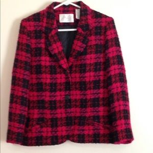 Lord and Taylor wool boucle plaid blazer sz 8